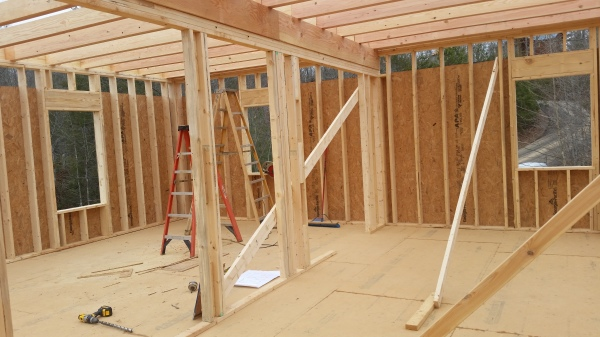 Main floor being framed. Master on the left